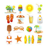 Beach icon set stock illustration