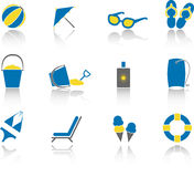Beach Icon Set. Set of modern icons for a summer day at the beach or pool Royalty Free Stock Image