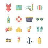Beach Icon Set Stock Images