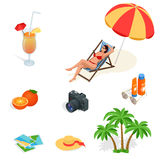 Beach icon set. Girl in a swimsuit on a deck chair, orange juice, sun umbrella, palm, sun glasses, photo, photo camera Royalty Free Stock Photo