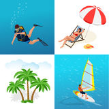 Beach icon set. Girl in a swimsuit on a deck chair, Scuba diver, sun umbrella, palm Stock Photo