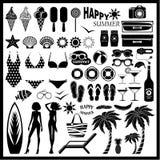 Beach icon set Stock Photos
