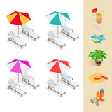 Beach icon set. Orange juice, sun umbrella, palm, sun glasses Stock Photography