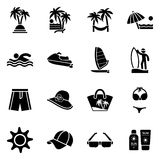 Beach icon set. Travel, tourism and vacation icon vector illustr Royalty Free Stock Image