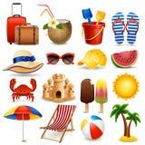 Beach icon set. Vector illustration - summer beach icon set on white background, eps10 vector illustration