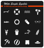 Beach icon set. Beach white simply symbols for web icons and user interface design Royalty Free Stock Photo
