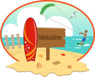 Beach. Icon with welcome sign and surfboard in the front and a man kite surfing in the background. Eps10 Royalty Free Stock Image