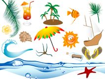 Beach icons. Set of summer and beach icons Stock Photography