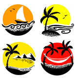 Beach icons Royalty Free Stock Photo