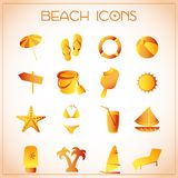 Beach icons Royalty Free Stock Images