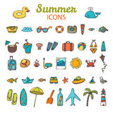 Beach icons collection. Hand drawn summer vector icon set.  Vaca Royalty Free Stock Photography