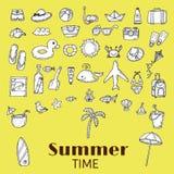 Beach icons collection. Hand drawn summer vector icon set.  Vaca Royalty Free Stock Photos
