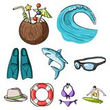 beach icons. A collection of pictures on the theme of the beach, the sea, surfing. Rescuers of the beach.Surfing icon in set collection on cartoon style vector Stock Photography