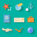 Beach icons in flat style Stock Image