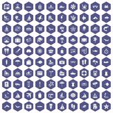 100 beach icons hexagon purple. 100 beach icons set in purple hexagon isolated vector illustration Royalty Free Stock Photography