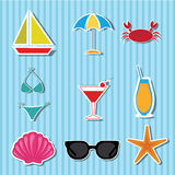 Beach icons Stock Image