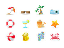 Beach icons and products Stock Photography