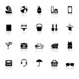 Beach icons with reflect on white background Stock Images
