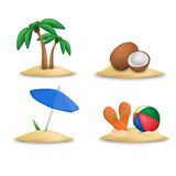 Beach icons set. Royalty Free Stock Image
