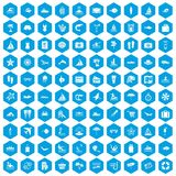 100 beach icons set blue. 100 beach icons set in blue hexagon isolated vector illustration Royalty Free Stock Image