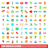 100 beach icons set, cartoon style. 100 beach icons set in cartoon style for any design vector illustration Royalty Free Stock Images