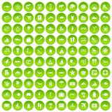 100 beach icons set green circle Stock Photography