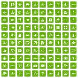 100 beach icons set grunge green. 100 beach icons set in grunge style green color isolated on white background vector illustration Stock Photo