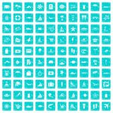 100 beach icons set grunge blue. 100 beach icons set in grunge style blue color isolated on white background vector illustration royalty free illustration