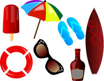 Beach icons Royalty Free Stock Photos