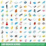 100 beach icons set, isometric 3d style. 100 beach icons set in isometric 3d style for any design vector illustration Royalty Free Stock Image