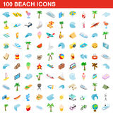 100 beach icons set, isometric 3d style Stock Photos