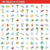 100 beach icons set, isometric 3d style. 100 beach icons set in isometric 3d style for any design illustration stock illustration