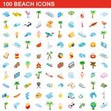 100 beach icons set, isometric 3d style. 100 beach icons set in isometric 3d style for any design illustration stock illustration
