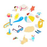 Beach icons set, isometric 3d style. Beach icons set in isometric 3d style. Summer holiday elements set collection vector illustration Stock Image
