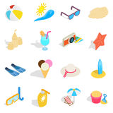 Beach icons set, isometric 3d style Royalty Free Stock Images