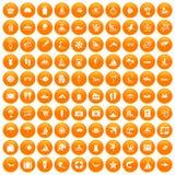 100 beach icons set orange. 100 beach icons set in orange circle isolated on white vector illustration Stock Photography