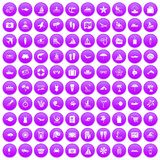 100 beach icons set purple. 100 beach icons set in purple circle isolated on white vector illustration Royalty Free Stock Photo