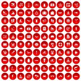 100 beach icons set red. 100 beach icons set in red circle isolated on white vector illustration Royalty Free Stock Images