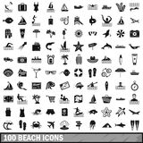 100 beach icons set, simple style Royalty Free Stock Photography