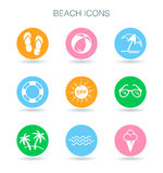 Beach icons set. Summer beach vacation symbols. Tropical surf ho Royalty Free Stock Image