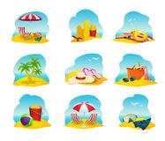 Beach Icons Set Stock Image