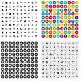 100 beach icons set vector variant. 100 beach icons set vector in 4 variant for any web design isolated on white Stock Photos
