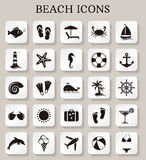 Beach icons. Vector set. Collection of beach and seaside icons on white buttons. Vector illustration Royalty Free Stock Photo