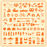 Beach icons,. Vector set beach icons, summer sea symbol, travel illustration Stock Image