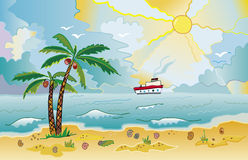 Beach II. Sunny beach with palms and shells. Colorful bright funny vector illustration vector illustration