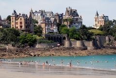 The beach of the Dinard lock in Brittany stock photography
