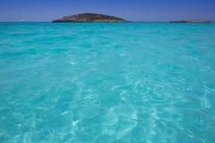 Beach Illetas Illetes in Formentera near Ibiza. With aqua water Royalty Free Stock Photo
