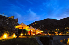 Beach illumination at luxury hotel Stock Images
