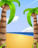 Beach illustration. Vacation resort view on the ocean in the middle of sunny day. There are tho palm trees. Sky is little cloudy with airplane leaving the view Stock Images