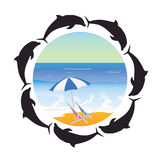 Beach illustration and dolphin vector Royalty Free Stock Photography